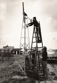 Chris Westra and his self-built wind turbine, 1972