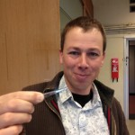 Niels Schenk shows a micro test tube, used in lab analysis