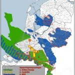 Presumed finds of shale gas (green) and coal gas (blue) in the Netherlands.