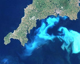 Algal bloom south of Cornwall caused by nitrate and phosphate leaching, 24 July 1999