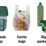 Succesvolle producten op Europese markten voor biologisch afbreekbare plastics (foto's door Huhtamaki, Novamont, BSR, Danone, Harald Käb, NatureWorks, FKuR)