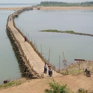 Bamboo bridge Kampong Cham, Cambodia