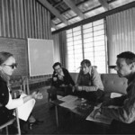 (Left to right) Maxine Singer, Norton Zinder, Sydney Brenner, and Paul Berg (1980 Nobel Laureate in Chemistry) were among the participants at the Asilomar Conference on gene technology.