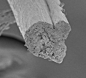 Cellulose spun from nanofibrils.