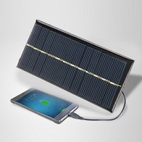 Smartphone with small solar panel.